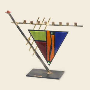 Triangular art deco menorah